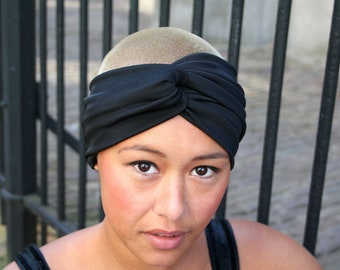 Black headband, basic accessory for all year round, stretch turban twist headband, no back seam, elegant classy accessory (HB19)