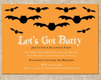 Printable Halloween Invitation, Personalized Digital Design, Customize Colors, DIY