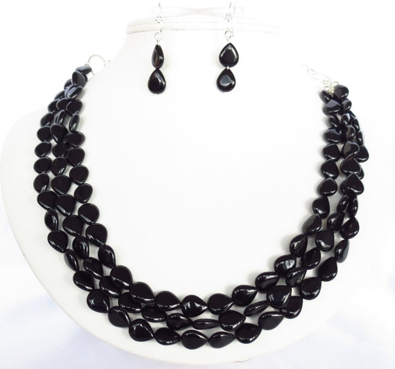 Fall Necklace - Graduated Black Onyx Statement Necklace & Earrings Set - Black Brown Bridal