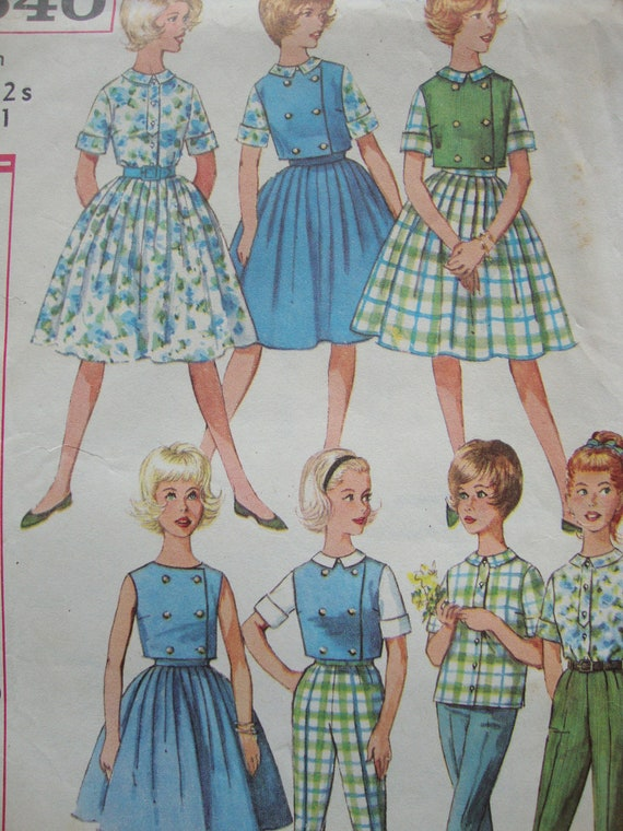 vintage 1960s teen weekend WARDROBE simplicity sewing pattern SIZE 12s sub teen skirt blouse top pants RETRO mod