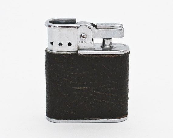 Working 1950s Ronson Whirlwind Pocket Lighter With Leather Wrap