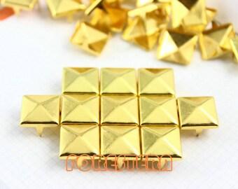 50Pcs 12mm Gold Pyramid Studs Metal Studs (JP12)