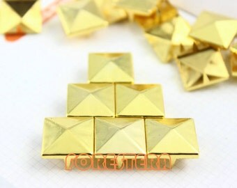 15mm Gold Pyramid Stud Punk Rock Leathercraft Stud (JP15)