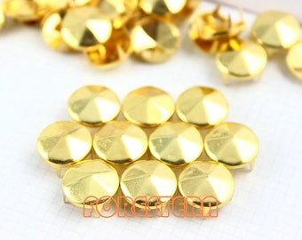 200Pcs 12mm Gold hexagon CONE Studs Metal Studs (JHC12)