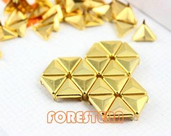 50Pcs 12mm Gold Triangle Studs Metal Studs (JT12)