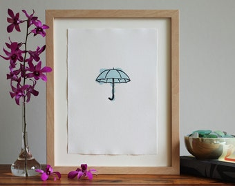 Umbrella Letterpress Art Print