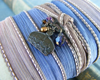 Everyday Royalty Silk Ribbon Wrap Bracelet: Crown Charm Dark Brass Blue Brown Mauve Freshwater Pearl and Crystals