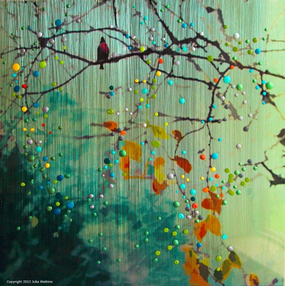 Birdsong - Green - Morning Mist Giclee Print - Introspection. Awakening to new possibilities.