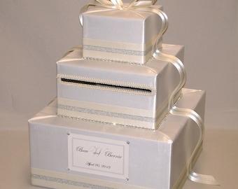 Ivory/Cream Custom Made Wedding Card Box-Silver Trim-any color combination