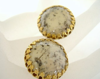 Vintage Haskell Clip Earrings White Gray Gold Buttons 50's (item 44)