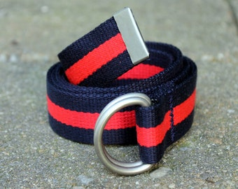 Boy Belt Striped Navy and Red D Ring