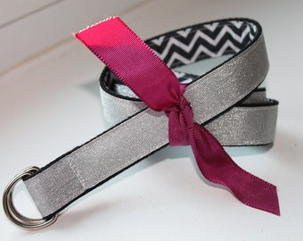 Girls Belt Reversible Black Chevron and Silver Glitter Ribbon
