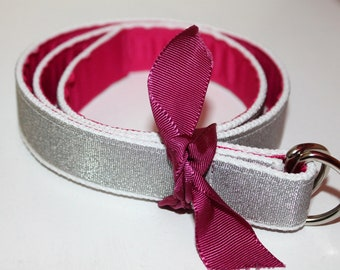 Girls Glitter Belt Girls Reversible Belt  Hot Pink Ribbon Belt Red Ribbon Belt Two Sided Belt Teen Sparkle Belt Girls Pink Glitter Belt
