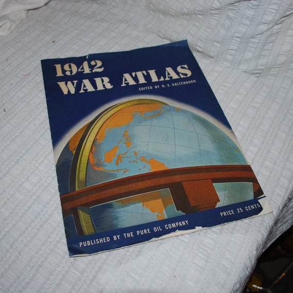 1942 War Atlas Vintage paper ephemera Old softcover map book PURE oil Co