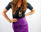 Vintage 1990s Skirt / Leather Skirt / Purple Leather / High Waist
