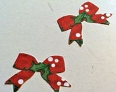 50 Red , White and green CHRISTMAS  BOW TIES Punched Die Cuts Confetti, Birthday party Invitations,scrapbooking, cards