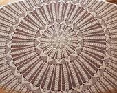 Circle / Round Crochet Ecru Tablecloth.
