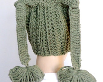 Camouflage green flap beanie funy hat.