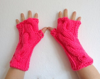 Pink Fingerless Gloves with a cable