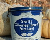 Charming Vintage Blue and White Vintage Silverleaf Brand Pure Lard Tin