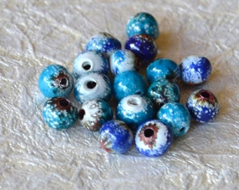 Enameled Copper Beads Blue Seas Mix, 18 beads, 6 to 7mm