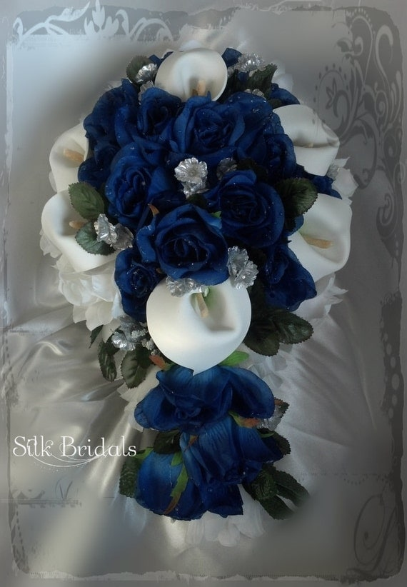 Bridal Bouquet Blue Silver: Sale quot beach wedding brooch bouquet ...