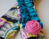 Ruffle Camera Strap Cover- Colorful Paisley Print with Aqua Double Ruffle and Rosette Pin and Lens Cap Pocket