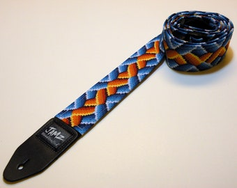 CLEARANCE SALE 38% off -  Handmade Double Padded Guitar Strap - BraidWorks - Blue & Orange