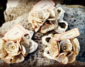 Place card holders with name tag. Vintage dictionary paper with pearl and vintage lace. 50 pcs.