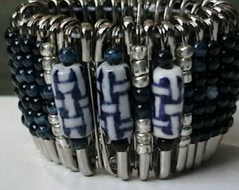 Safety Pin Beaded Wrist Cuff Bracelet OOAK