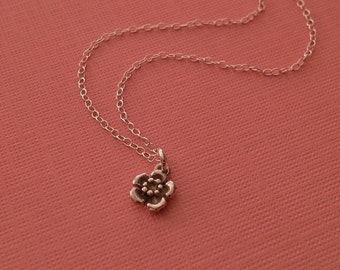 Tiny Flower Necklace in Sterling Silver -Cherry Blossom Necklace -Spring Necklace