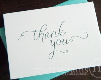 Bridal Shower or Wedding Thank You Cards - Elegant, Wedding or Any Occasion - Fancy, Scripted (50 Count) SS01
