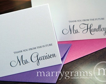 Wedding Bridal Shower Thank You Cards, Thank You From the Future Mrs. Thank You Notes, Wedding Shower, Shower Gift Cards Unique (Set of 10)