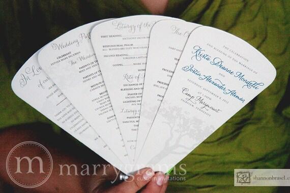 Wedding Program Fans - 5 Blade Petal Programs - Rustic Outdoor Wedding Program Fan, Satin Ribbon - Purple, Pink, Navy, Silver (50ct) SS01