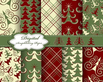 Green, White and Red Christmas Digital Papers for scrapbooking, card making, Invites, photo cards (P168)