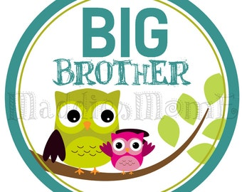Big Brother Owl Iron on Transfer - Big Brother Little Sister Owls