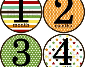 Monthly Baby Stickers Baby Boy Month Stickers Milestone Stickers Monthly Photo Stickers Bodysuit Stickers (Chris)