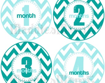 Monthly Baby Boy Stickers, Milestone Stickers, Baby Month Stickers, Monthly Bodysuit Sticker, Monthly Stickers (Blue Teal Chevron)