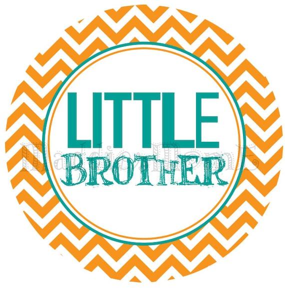 Little Brother DIY Iron on Transfer - Chevron Blue Green Orange