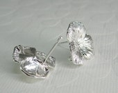 4 Pairs (8 Pcs)  -  Silver Plated Three Petal Flower Earring Post, Ear Post, Earring Findings (17x18MM) AML010