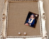 Vintage  Frame-Ornate  Magnetic board  16.75 x 14.75 Tight Weave Burlap-Perfect for Wedding Sign- Can be Chalk Board