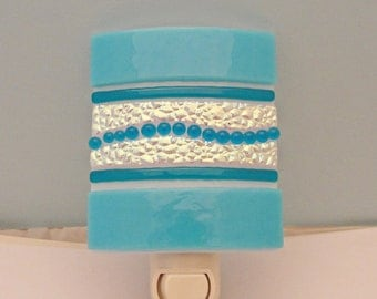 Dichroic Fused Glass Night Light Blue Colorful Home Decor Lighting Housewares Gifts Under 40 Dollars Under 50 Dollars for Her Gifts for Mom