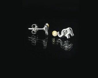 Elephant Earrings- Sterling Silver Earrings Studs