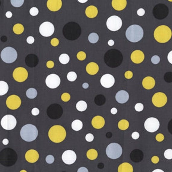 Gray and Yellow Polka Dot Fabric Citron Gray Lolli
