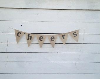 Cheers burlap banner bunting