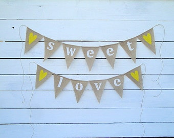 Sweet love burlap banner with yellow hearts