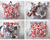 Knitting Project Bag/Crochet Project Bag (reversible wristlet) with red and gray flowers