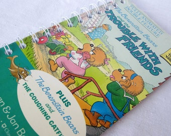 Upcycled Notebook/Recycled Notebook from a Berenstain Bears and the Trouble with Friends VHS box, 50 sheets/100 pages