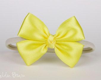 Yellow Baby Bow - Flower Girl Headband - Yellow and Ivory Like a Butterfly Satin Bow Baby Handmade Headband