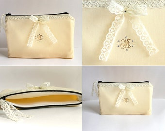 Swarovski Crystals Personalized Bridesmaid Gifts, Monogram Lace Makeup Pouch, Cosmetic Bag Case, Bridal Shower Gift, Bridal Party Gifts